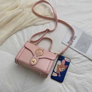 Handbags - Pink and black crossbody bags with handle